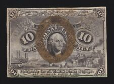 Us 10c Fractional Currency 2nd Issue Fiber Paper 18-63-T-1 Fr 1249 Ch Au (-004)
