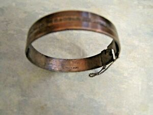 VINTAGE MONOMIL 9ct & SILVER HINGED BANGLE SAFETY CHAIN
