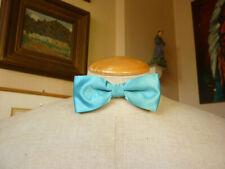 Vintage 1980s Turquoise Satin Bow Tie Preppy Retro Prom