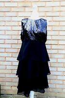 Wallis Petite Black Sequin Tiered Hem Dress UK Size 14 NDTJ3 W292