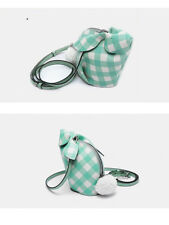 Gingham Mini Bunny Bag Shoulder Bag- Green