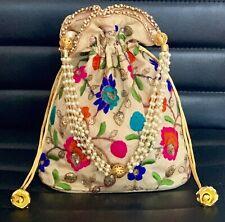 Designer Silk Gold Potli Bag Indian Bridal Wedding Embroidered Clutch Party Bag