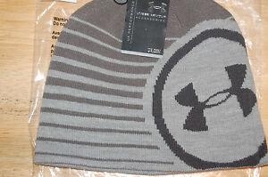under armour logo mens billboard 2.0 beanie hat gray heather graphite retail $25