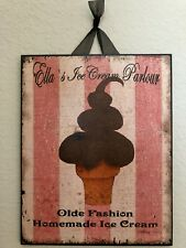 "Distressed Vintage Ice Cream Sign Plaque 8""x10"""