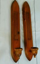 Wood Candle Sconces - Midcentury Modern - Set of Two Wall Candle Holders