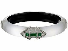 Alexis Bittar Silver Lucite Emerald Crystal Baguette Hinged Bracelet $212