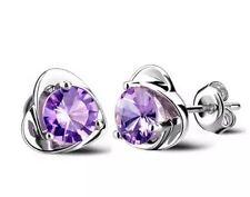 Argento cristallo viola tono con orecchini a forma di cuore di contorno
