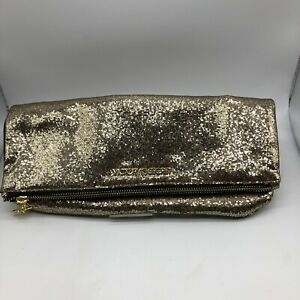 New Victoria Secret Gold Sparkle Clutch Bag Zip Large Foldover Sequins