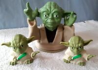 """Vintage New Old Stock YODA Lidded 6"""" Drinking Cup Top + 2 Figurines Collectible"""