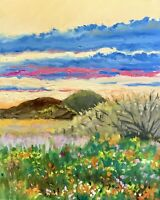 Desert At Sunset Original Impressionist Landscape Oil Painting Wall Art