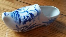 Holland Delfts Blue Ceramic Wooden Shoe Clog Hand Painted Planter Wall Hanging