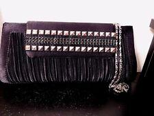 Vintage Black Ruched Silver Studded Bijoux Turner Evening Bag