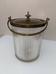 Vintage Glass Ice Bucket With Brass Fitments