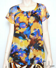 Nwt Jones New York SURABAYA Silk Blouse Top Tunic Shirt Lined ~Lapis/Multi *6