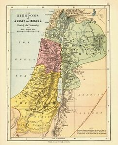 1878 Viktorianisch Landkarte ~ Die Kingdoms Von Judah Und Israel ~ During