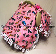 PINK FANCY SHOES FLEECE / INFANT / BABY CAR SEAT CANOPY / TENT/ COVER - HANDMADE
