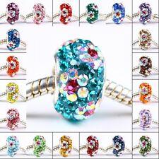 925 Sterling Silver Flower Crystal Rhinestone European Beads Fit Bracelet Charms