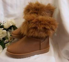 Mujer Piel Invierno Botas Zapatos Marrón Botas Con Desmontable fell. TALLA 37
