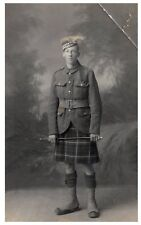 Postcard WW1 Cameron Highlanders Scottish Regiment Soldier Kilt Army RPPC 14a
