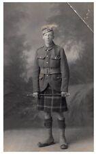 Postcard WW1 Cameron Highlanders Scottish Regiment Soldier Kilt Army RPPC 14a
