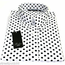 Relco Mens White Polka Dot Button Down Long Sleeved Shirt Mod Skin Retro 60s 70s