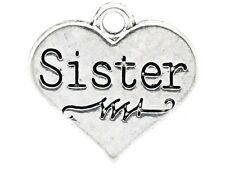 5 x SISTER CHARMS - 17x16mm - SILVER TONE  - SAME DAY POSTAGE