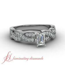 1 CARAT Emerald Cut Diamond Intertwined Style Pave Set Engagement Ring SI2 GIA
