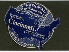 Vintage Poster Stamp Label 1923 RESTAURANT CONVENTION Cincinnati Die-cut Map