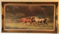 """Beautifully Framed  Very Large Giclee Horse Rainbow  Print On Board  55 """""""