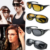 HD Unisex Men Women Night Vision Driving Sunglasses Over Wrap Around Glasses New