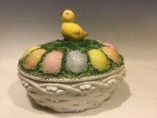Easter Basket Centerpiece Ceramic Spaghetti Chick Eggs Italy