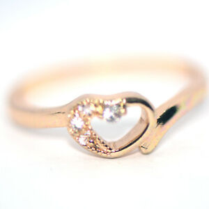 Womens Crystal Heart Rings Wedding Engagement Rings Gold Ring Size 8