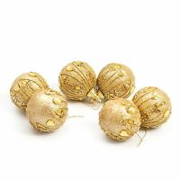 6 Pc Luxury 80mm Christmas Tree Hanging Baubles Decoration Set - Ornate Gold