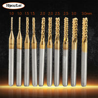 10pcs Titanium Coated Carbide 1mm 1.5mm 2mm 2.5mm 3mm End Mill Engraving  Bit SG