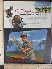 Rare Orig VTG Revere Camera Color Prints Baseball Color Advertising Art Print