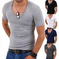 T-shirt uomo maniche corte aderente scollo tondo ampio maglietta discoteca nuova