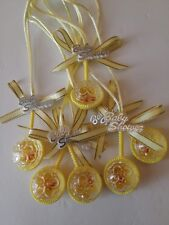 Yellow Baby shower rattle favor 12pc keepsake necklace for boy or girl.