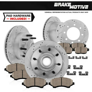 Front+Rear Drill Slot Brake Rotors & Ceramic Pads For Ford F-350 Super Duty