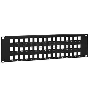 48 Port 3U Keystone Snap-in Blank Patch Panel for Cat5e Cat6 RJ45 19 inch NEW