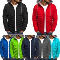Winter Mens Down Warm Jacket Zipper Stand Collar Hooded Puffer Jacket Coat 2XL