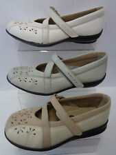 Ladies Easy B Beige Leather Riptape Strap Shoes Perth