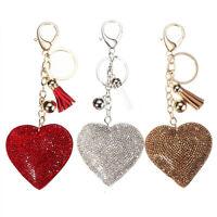 JF_ Pendant Keychain Bag Keyring Key Chain Charm Heart Crystal Rhinestone Hand