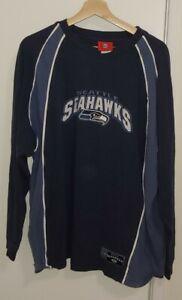 SEATTLE SEAHAWKS SWEATSHIRT NFL REEBOK SIZE XLG VINTAGE Embroidered Hawks 12's