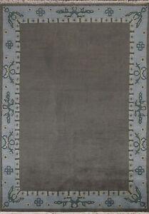Bordered Nepal Tibetan Oriental Area Rug Wool Hand-knotted Decorative Carpet 6x8