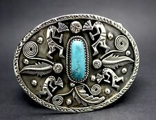 925 STERLING SILVER MEN BELT BUCKLE with TURQUOISE FAST FREE SHIPPING !!!