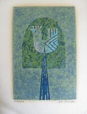 Japanese  Silkscreen print - Masao Ohba - bird limited edition paperscreen