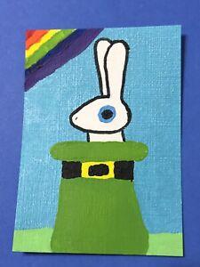 Original ACEO Art Card - White Rabbit In A Leprechaun Hat - Acrylic Painting