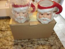 Longaberger Christmas Santa Claus Mug Set Of 2 New In Box