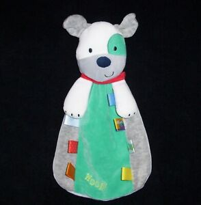Taggies WOOF Green Gray Puppy Dog Baby Blanket Red Scarf Satin Tags Rattle Toy