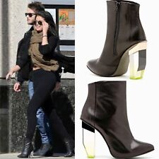 MIISTA AMAYA ANKLE BOOTS 6.5 Black Leather Booties Yellow Plastic Perspex Heels